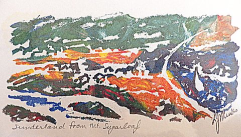 An abstract painting of a river and town landscape