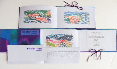 A handmade silkscreen book with color landscape paintings
