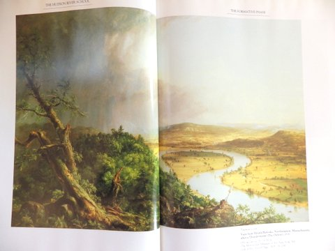 A painting of bright sunshine on a lanscape with a winding river