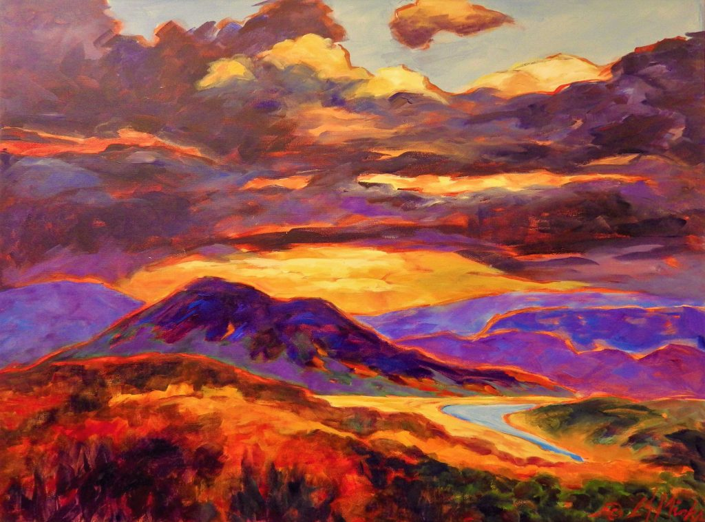 A painting of light breaking through the clouds over rolling hills and a winding road
